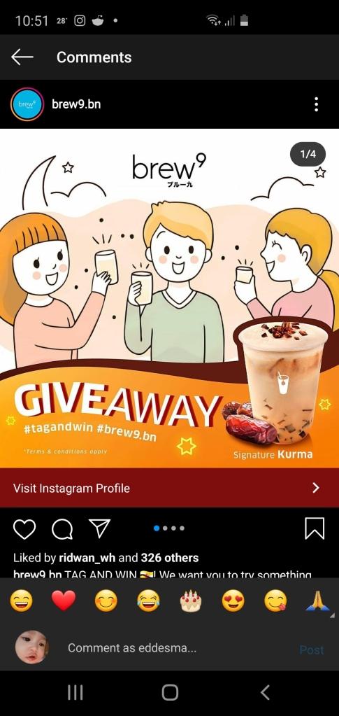 Brew9 Instagram giveaway